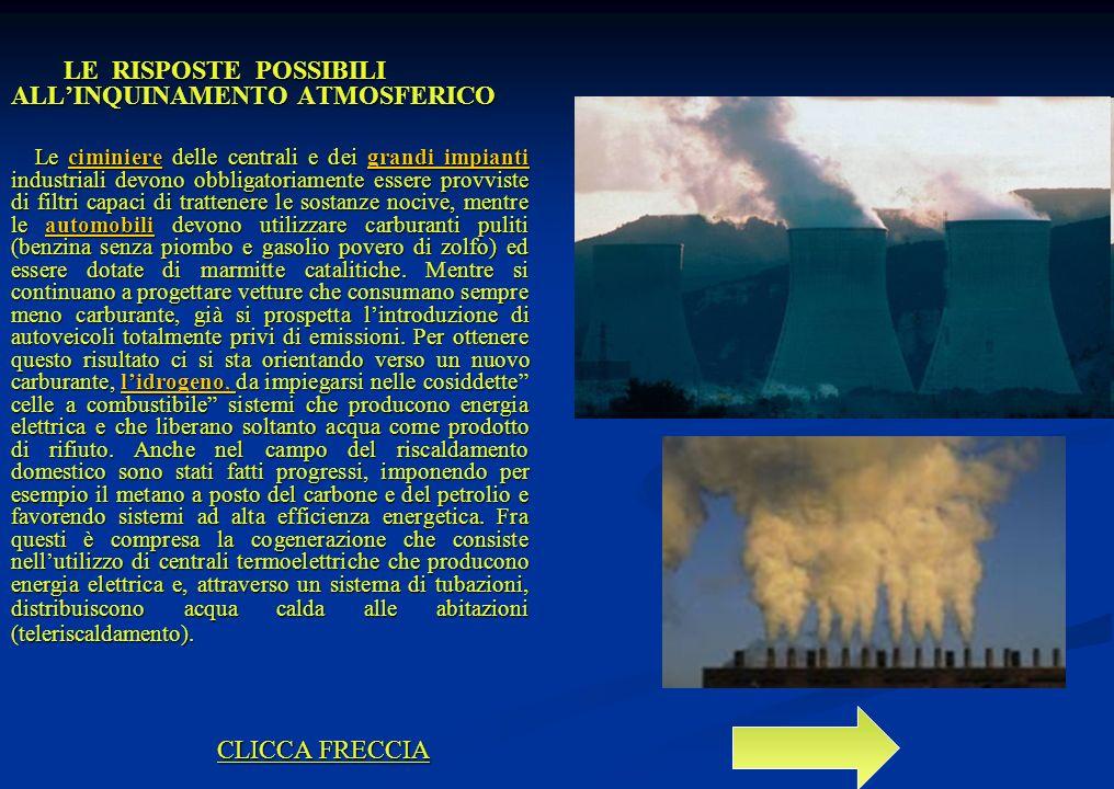 LE RISPOSTE POSSIBILI ALLINQUINAMENTO ATMOSFERICO LE RISPOSTE POSSIBILI ALLINQUINAMENTO ATMOSFERICO Le ciminiere delle centrali e dei grandi impianti industriali devono obbligatoriamente essere provviste di filtri capaci di trattenere le sostanze nocive, mentre le automobili devono utilizzare carburanti puliti (benzina senza piombo e gasolio povero di zolfo) ed essere dotate di marmitte catalitiche.