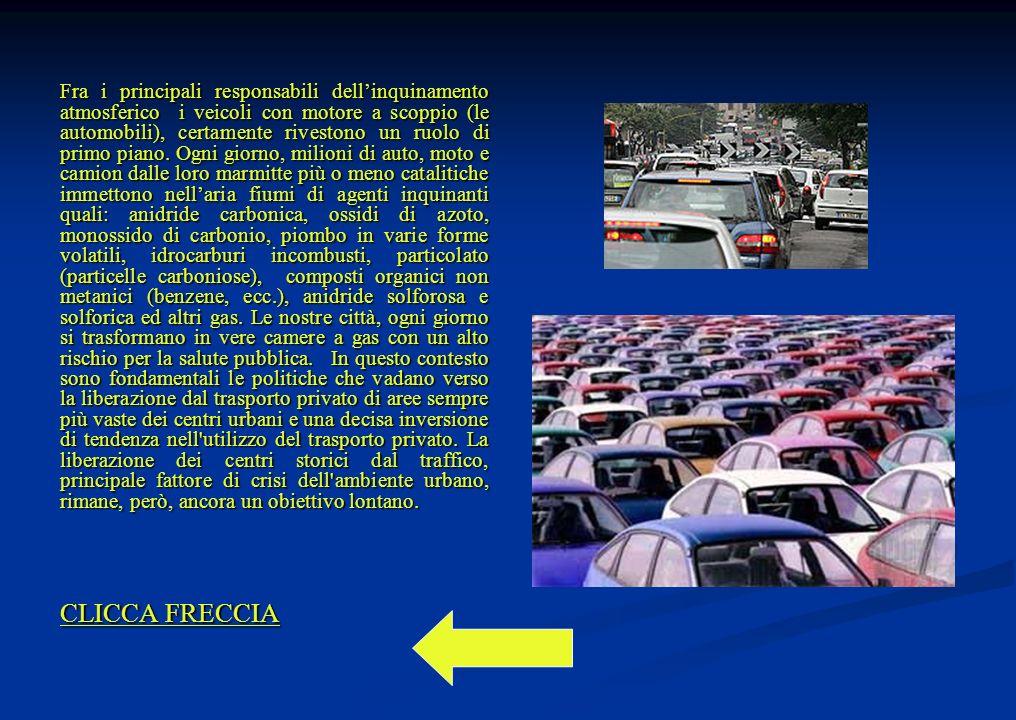 Fra i principali responsabili dellinquinamento atmosferico i veicoli con motore a scoppio (le automobili), certamente rivestono un ruolo di primo piano.