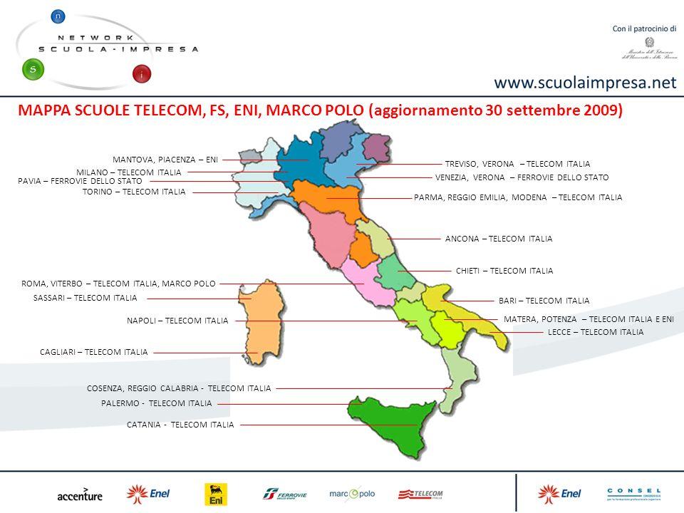 TREVISO, VERONA – TELECOM ITALIA TORINO – TELECOM ITALIA MILANO – TELECOM ITALIA PARMA, REGGIO EMILIA, MODENA – TELECOM ITALIA ROMA, VITERBO – TELECOM ITALIA, MARCO POLO NAPOLI – TELECOM ITALIA LECCE – TELECOM ITALIA CHIETI – TELECOM ITALIA ANCONA – TELECOM ITALIA MATERA, POTENZA – TELECOM ITALIA E ENI COSENZA, REGGIO CALABRIA - TELECOM ITALIA CAGLIARI – TELECOM ITALIA SASSARI – TELECOM ITALIA BARI – TELECOM ITALIA CATANIA - TELECOM ITALIA PALERMO - TELECOM ITALIA MANTOVA, PIACENZA – ENI PAVIA – FERROVIE DELLO STATO VENEZIA, VERONA – FERROVIE DELLO STATO MAPPA SCUOLE TELECOM, FS, ENI, MARCO POLO (aggiornamento 30 settembre 2009)