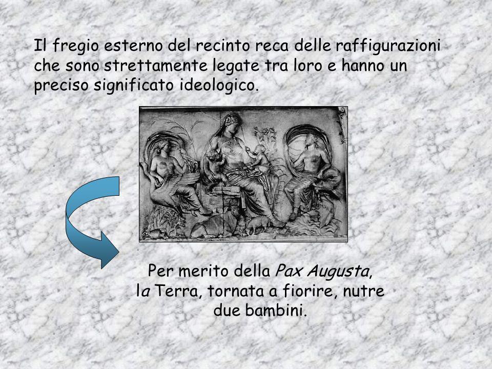 LAra Pacis è il monumento che meglio rappresenta larte e lideologia dellepoca augustea; eretto per celebrare la pax augusta, la pace che Ottaviano ass