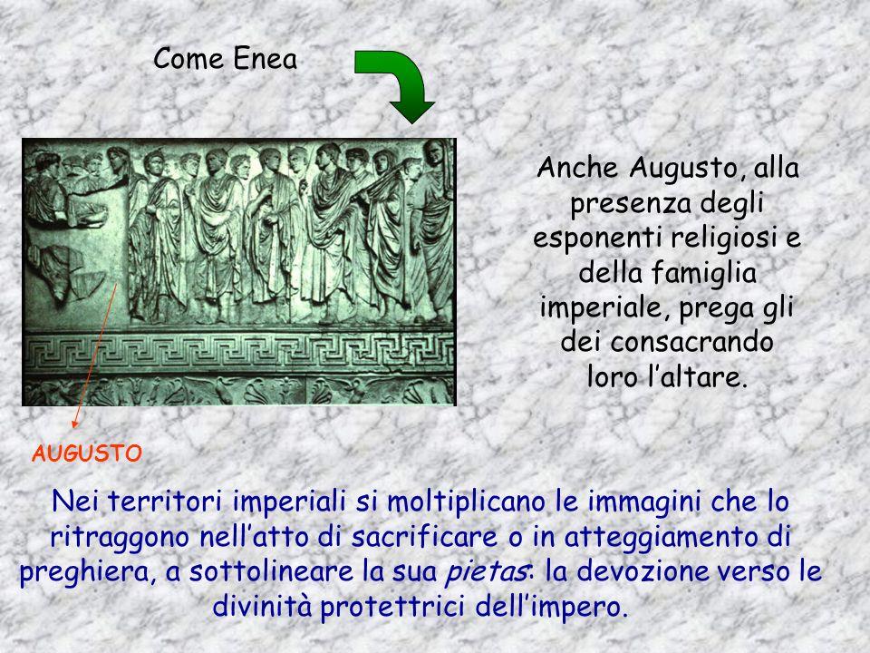 Enea, leroe troiano fondatore di Roma, di cui Augusto si considera discendente, sacrifica agli antenati.