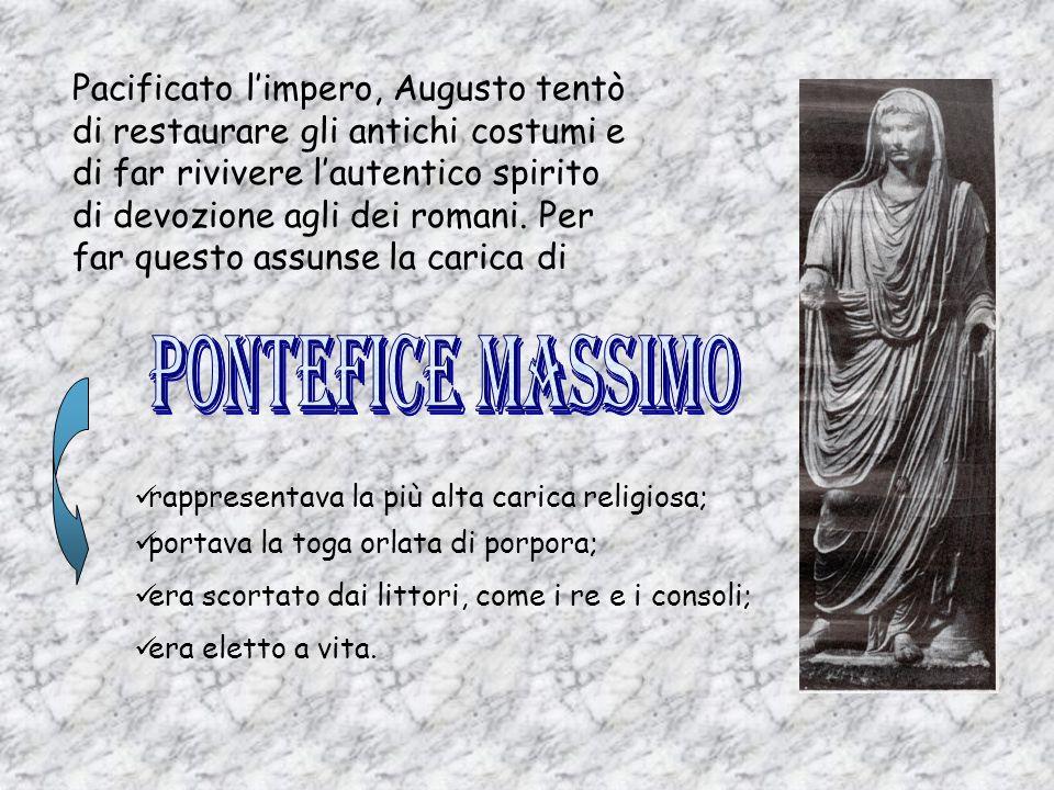 Augusto inaugurò un programma di rinnovamento politico e culturale Punto di forza fu
