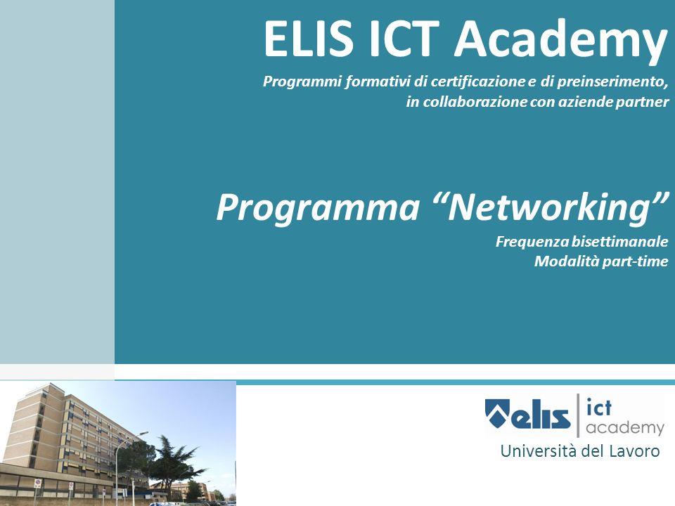 ELIS ICT Academy Programmi formativi di certificazione e di preinserimento, in collaborazione con aziende partner Programma Networking Frequenza biset