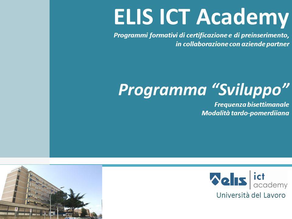 ELIS ICT Academy Programmi formativi di certificazione e di preinserimento, in collaborazione con aziende partner Programma Sviluppo Frequenza bisetti