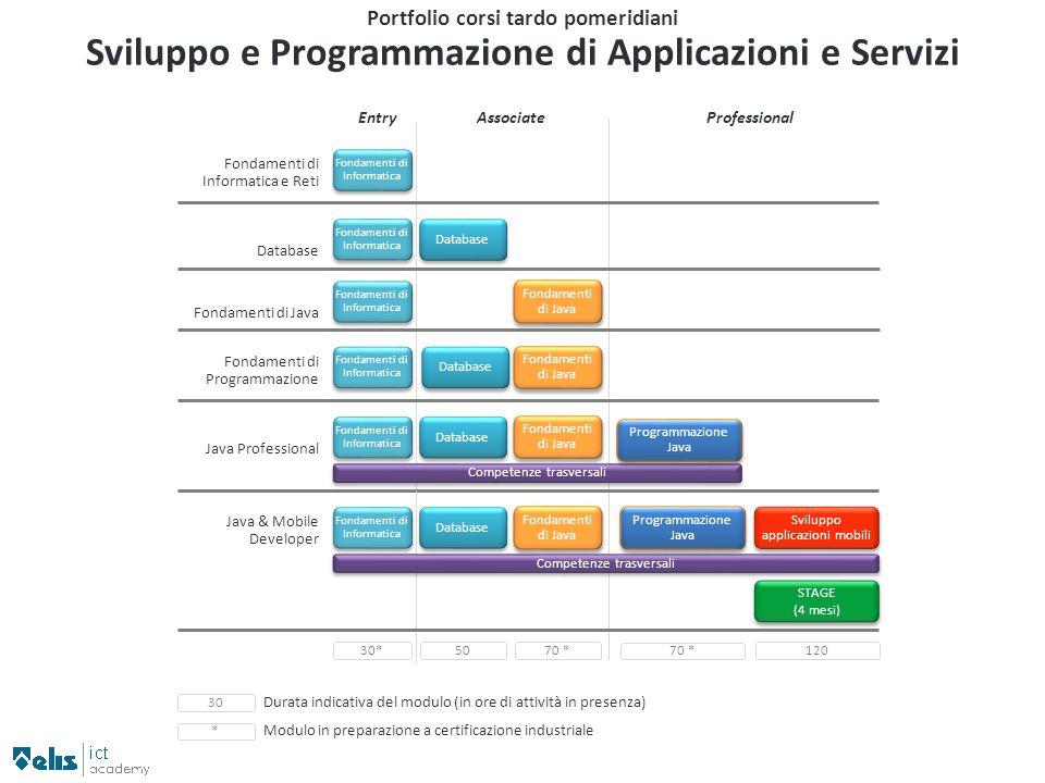 Database Portfolio corsi tardo pomeridiani Sviluppo e Programmazione di Applicazioni e Servizi EntryAssociateProfessional Fondamenti di Informatica e