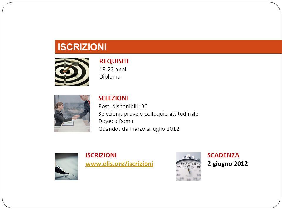 SELEZIONI Posti disponibili: 30 Selezioni: prove e colloquio attitudinale Dove: a Roma Quando: da marzo a luglio 2012 ISCRIZIONI www.elis.org/iscrizio