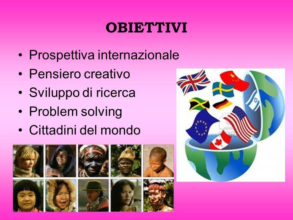 OBIETTIVI Prospettiva internazionale Pensiero creativo Sviluppo di ricerca Problem solving Cittadini del mondo