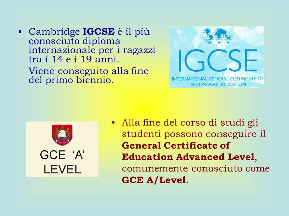 Cambridge IGCSE è il più conosciuto diploma internazionale per i ragazzi tra i 14 e i 19 anni. Viene conseguito alla fine del primo biennio. Alla fine