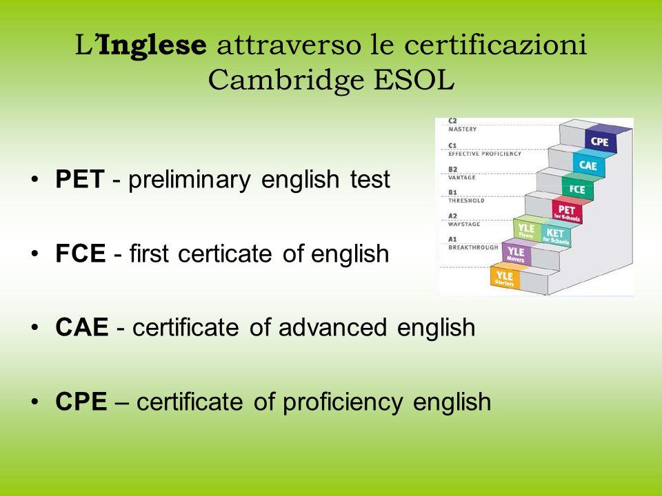 L Inglese attraverso le certificazioni Cambridge Cambridge International Examinations (CIE) IGCSE English as a second language Viene riconosciuta equivalente al livello FCE ESOL English A/Level Viene riconosciuta equivalente al livello CAE ESOL