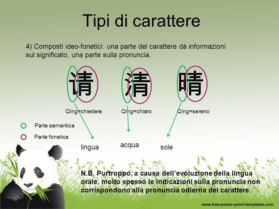 Tipi di carattere 4) Composti ideo-fonetici: una parte del carattere dà informazioni sul significato, una parte sulla pronuncia. N.B. Purtroppo, a cau