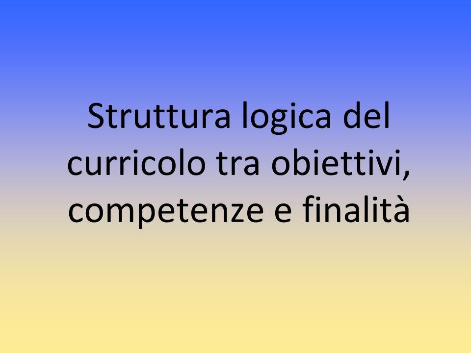Struttura logica del curricolo tra obiettivi, competenze e finalità