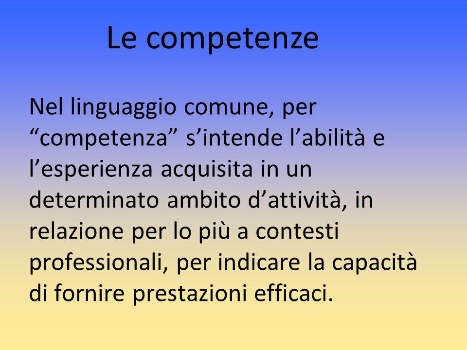 Nel linguaggio comune, per competenza sintende labilità e lesperienza acquisita in un determinato ambito dattività, in relazione per lo più a contesti