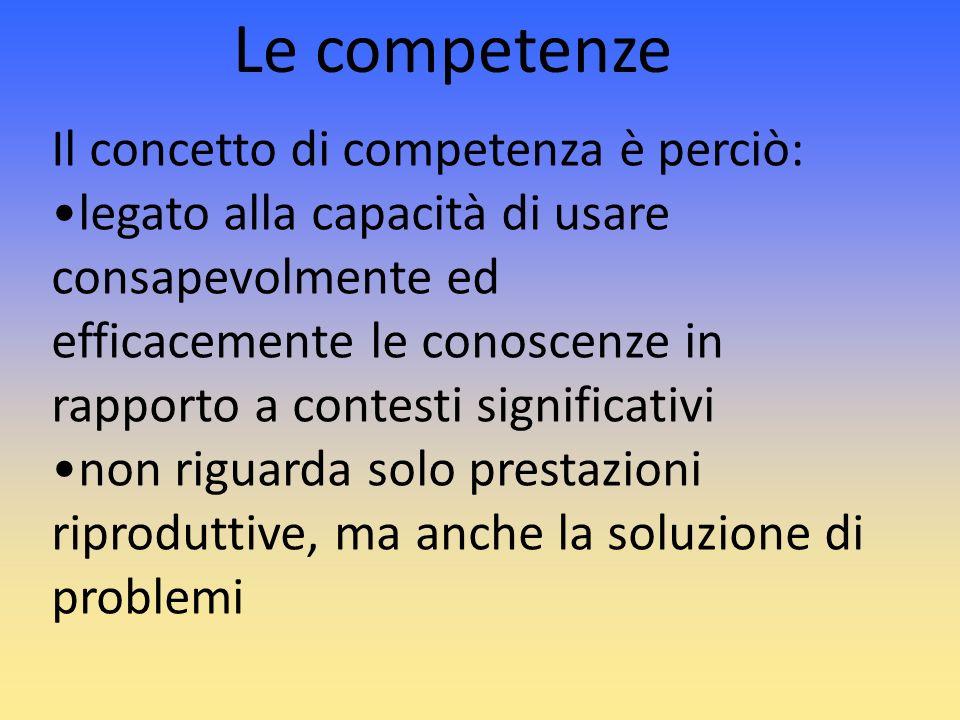 Il concetto di competenza è perciò: legato alla capacità di usare consapevolmente ed efficacemente le conoscenze in rapporto a contesti significativi
