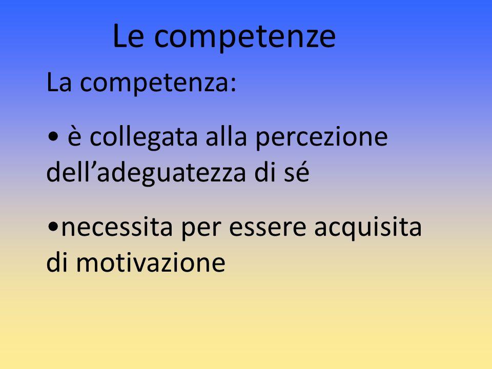 Le competenze La competenza: è collegata alla percezione delladeguatezza di sé necessita per essere acquisita di motivazione