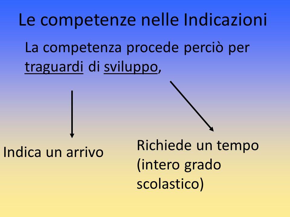 Le competenze nelle Indicazioni La competenza procede perciò per traguardi di sviluppo, Indica un arrivo Richiede un tempo (intero grado scolastico)