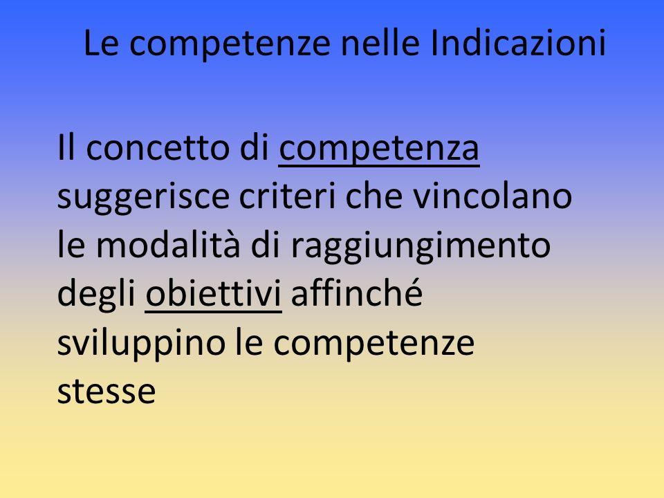 Le competenze nelle Indicazioni Il concetto di competenza suggerisce criteri che vincolano le modalità di raggiungimento degli obiettivi affinché svil
