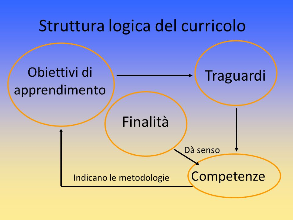 Struttura logica del curricolo Finalità Traguardi Obiettivi di apprendimento Competenze Dà senso Indicano le metodologie
