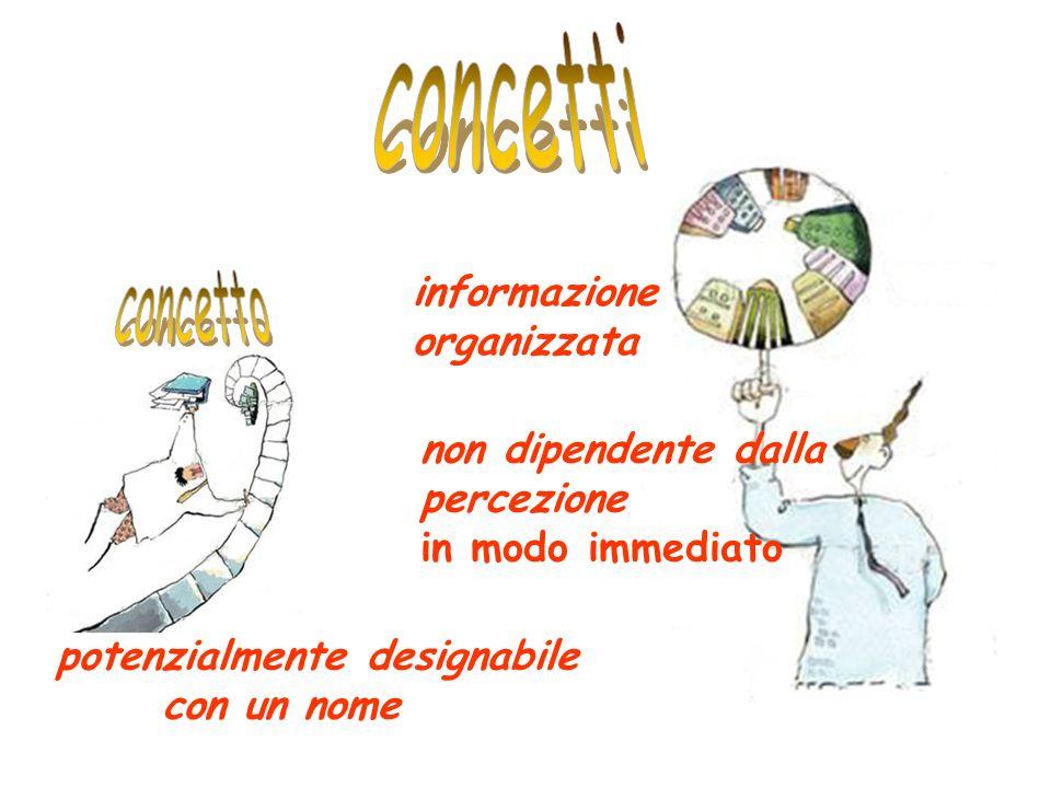 informazione organizzata non dipendente dalla percezione in modo immediato potenzialmente designabile con un nome
