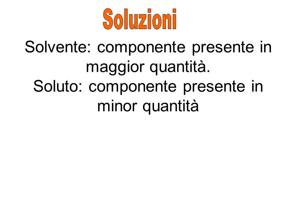 Solvente: componente presente in maggior quantità. Soluto: componente presente in minor quantità