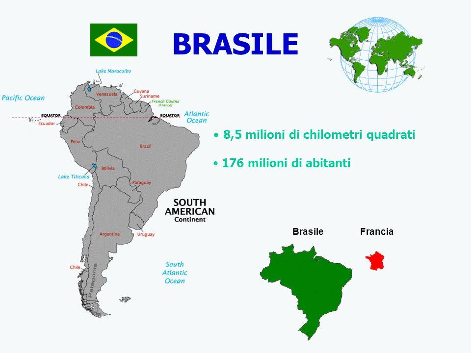 BRASILE 8,5 milioni di chilometri quadrati 176 milioni di abitanti BrasileFrancia
