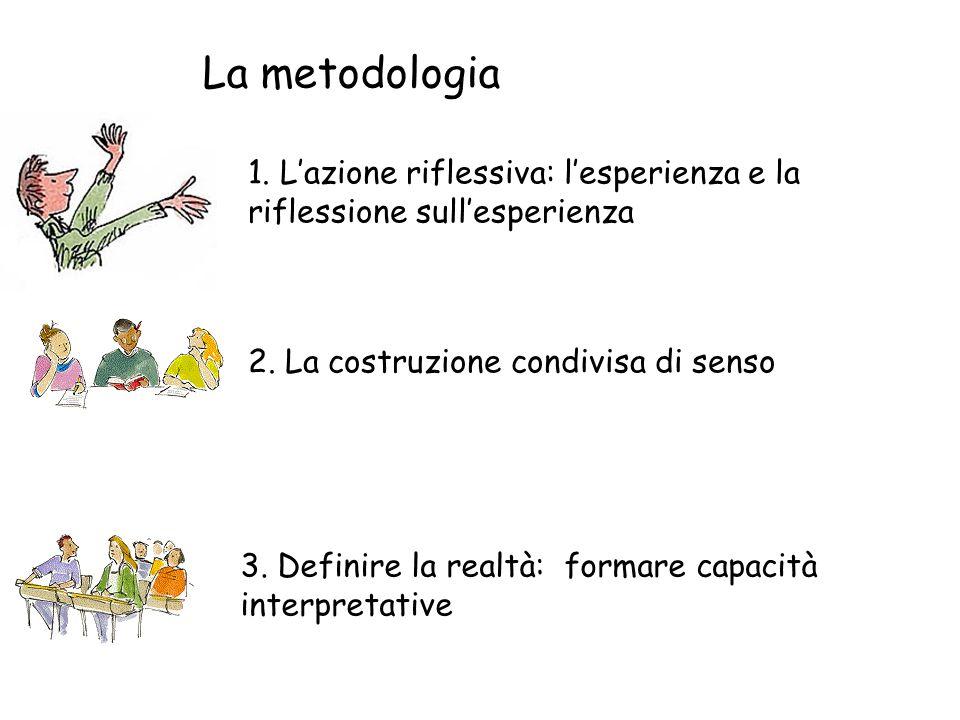 La metodologia 1.Lazione riflessiva: lesperienza e la riflessione sullesperienza 2.