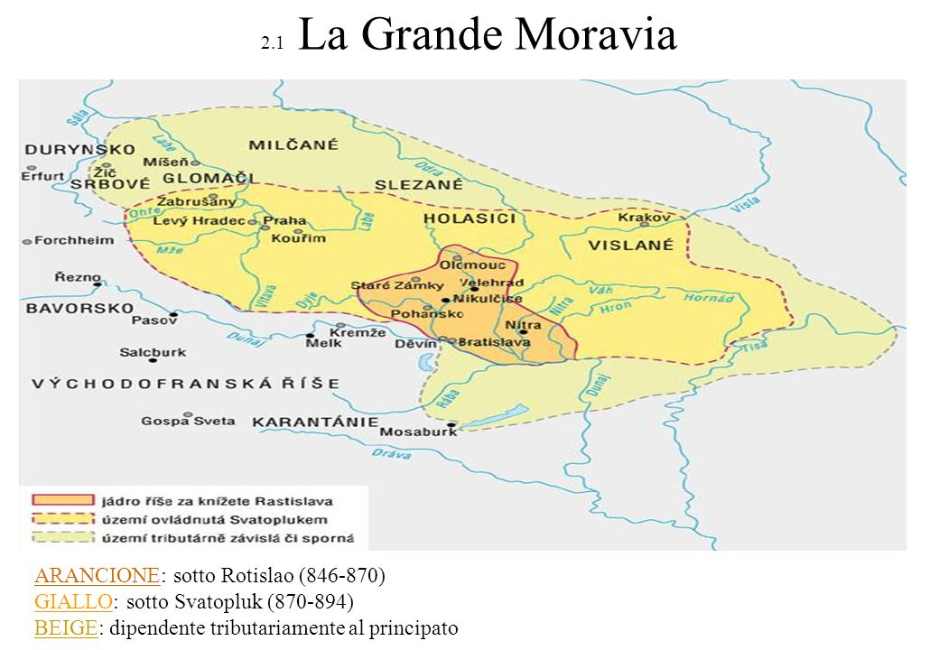 2.2 Cristianizzazione del popolo ceco Cirillo e Metodio La più antica iscrizione in lettere cirilliche (993) Metodio 825-884 Cirillo 827-869 Giunsero in Moravia nell863-864