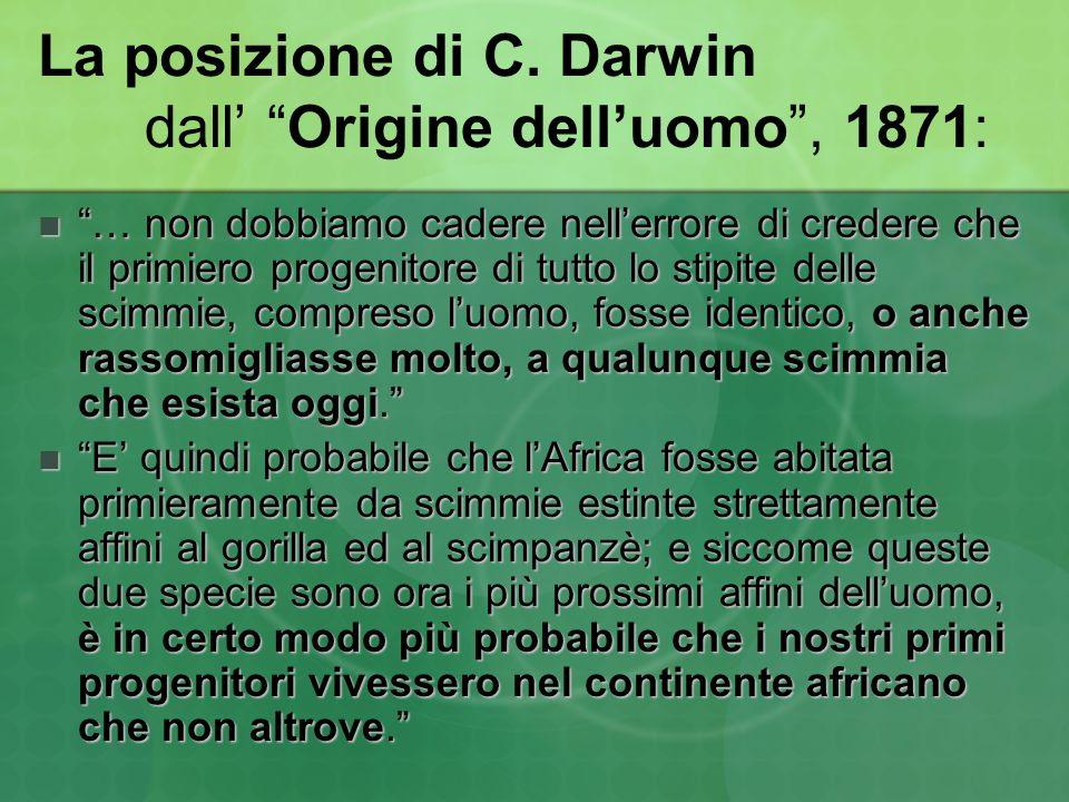 La posizione di C. Darwin dall Origine delluomo, 1871: … non dobbiamo cadere nellerrore di credere che il primiero progenitore di tutto lo stipite del