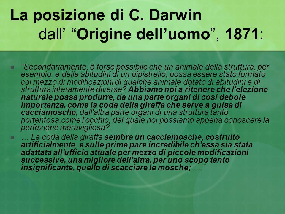 La posizione di C. Darwin dall Origine delluomo, 1871: Secondariamente, è forse possibile che un animale della struttura, per esempio, e delle abitudi