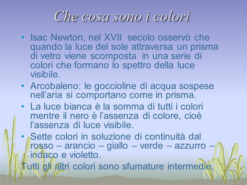 Che cosa sono i colori Isac Newton, nel XVII secolo osservò che quando la luce del sole attraversa un prisma di vetro viene scomposta in una serie di colori che formano lo spettro della luce visibile.