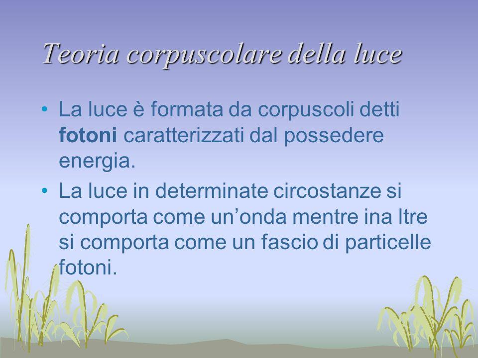 Teoria corpuscolare della luce La luce è formata da corpuscoli detti fotoni caratterizzati dal possedere energia.