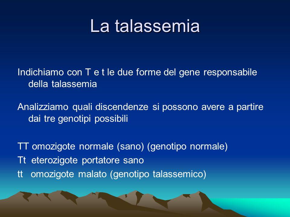 La talassemia Indichiamo con T e t le due forme del gene responsabile della talassemia Analizziamo quali discendenze si possono avere a partire dai tr