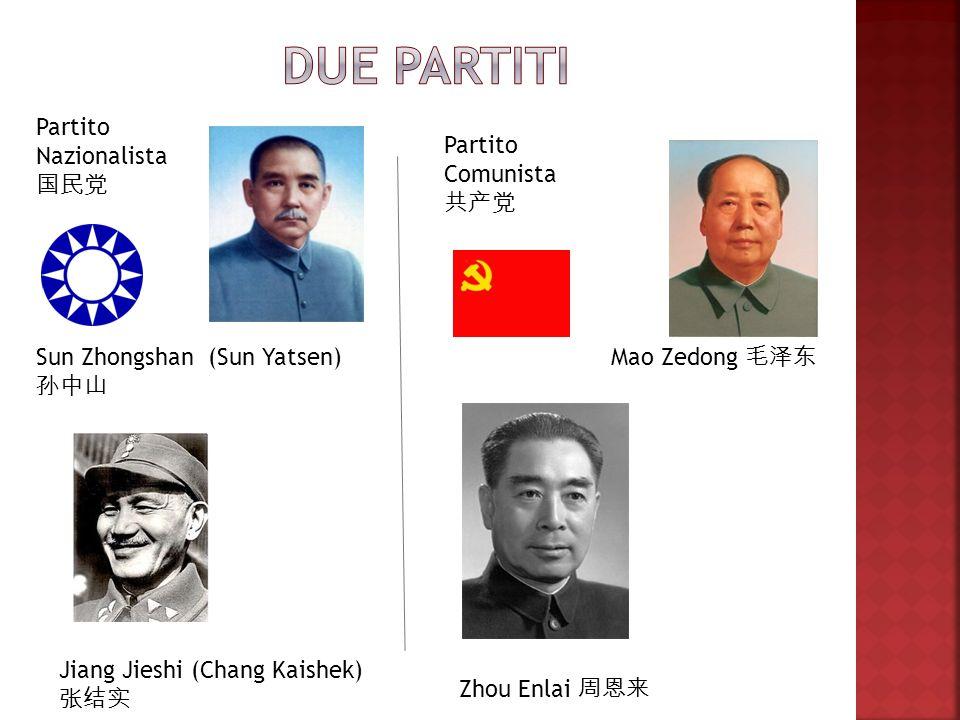 Sun Zhongshan (Sun Yatsen) Jiang Jieshi (Chang Kaishek) Mao Zedong Zhou Enlai Partito Nazionalista Partito Comunista