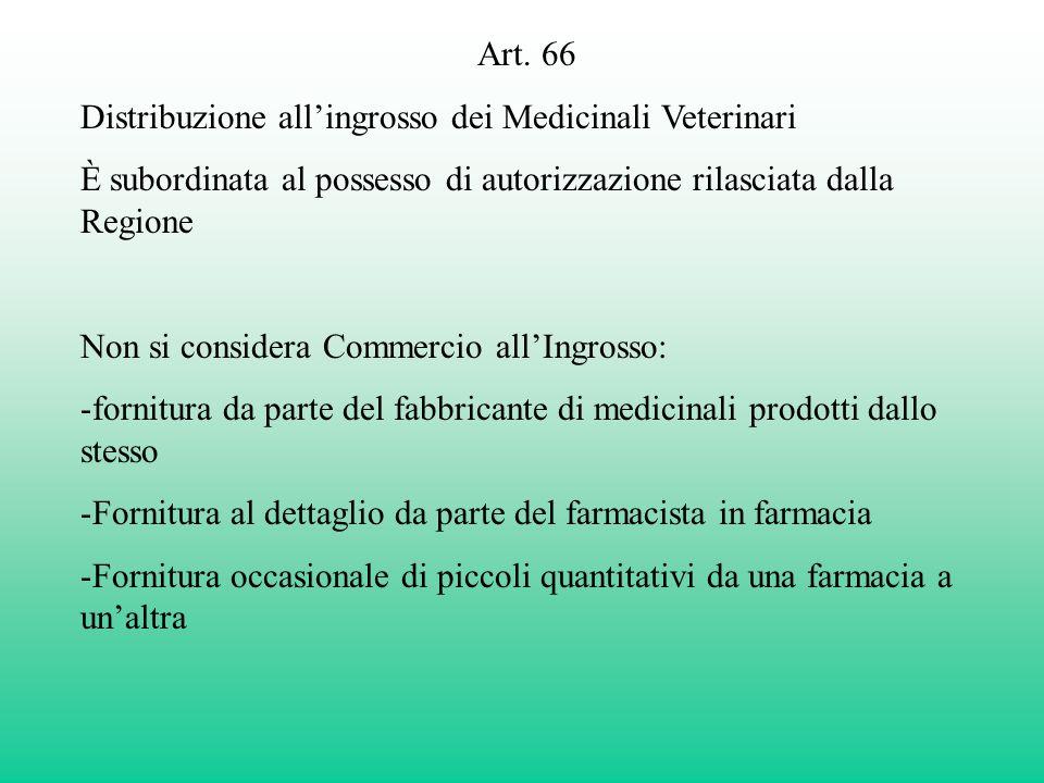 Art. 66 Distribuzione allingrosso dei Medicinali Veterinari È subordinata al possesso di autorizzazione rilasciata dalla Regione Non si considera Comm