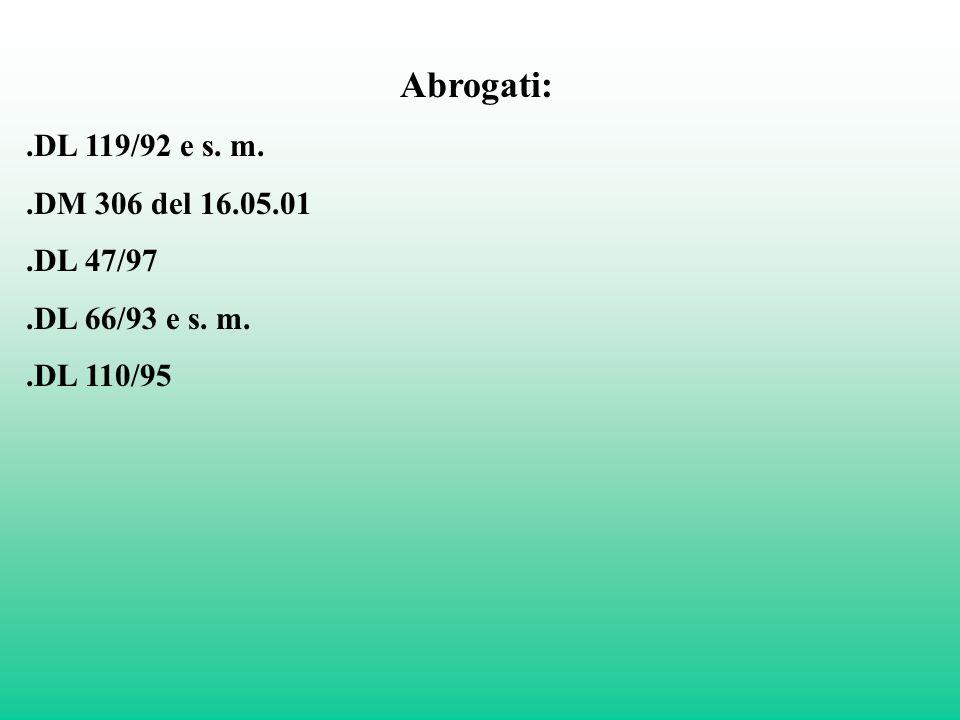 Abrogati:.DL 119/92 e s. m..DM 306 del 16.05.01.DL 47/97.DL 66/93 e s. m..DL 110/95