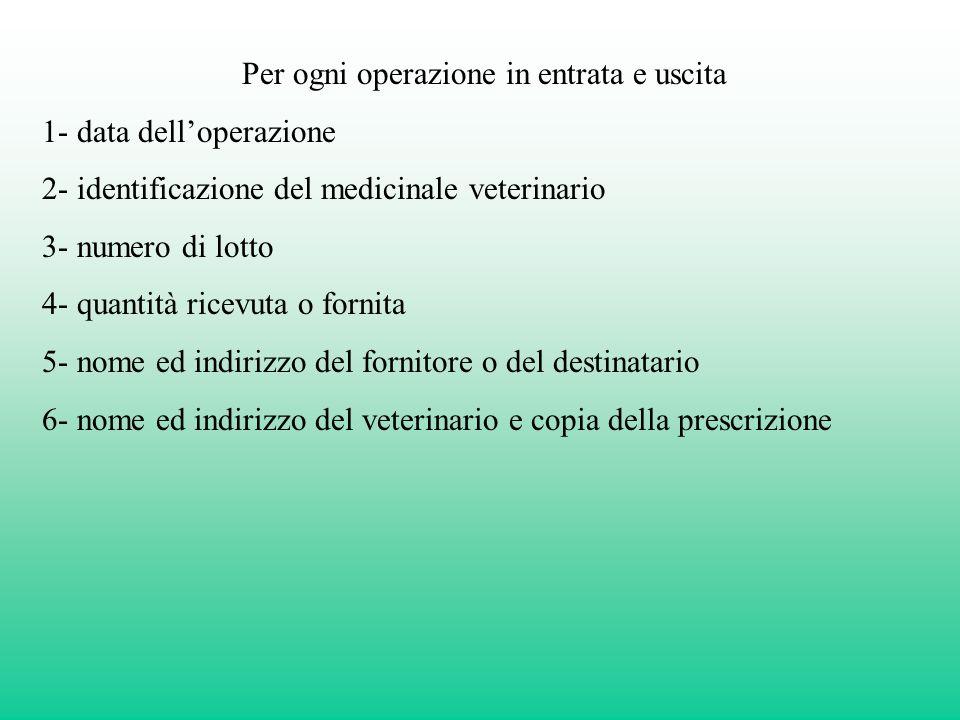 Per ogni operazione in entrata e uscita 1- data delloperazione 2- identificazione del medicinale veterinario 3- numero di lotto 4- quantità ricevuta o