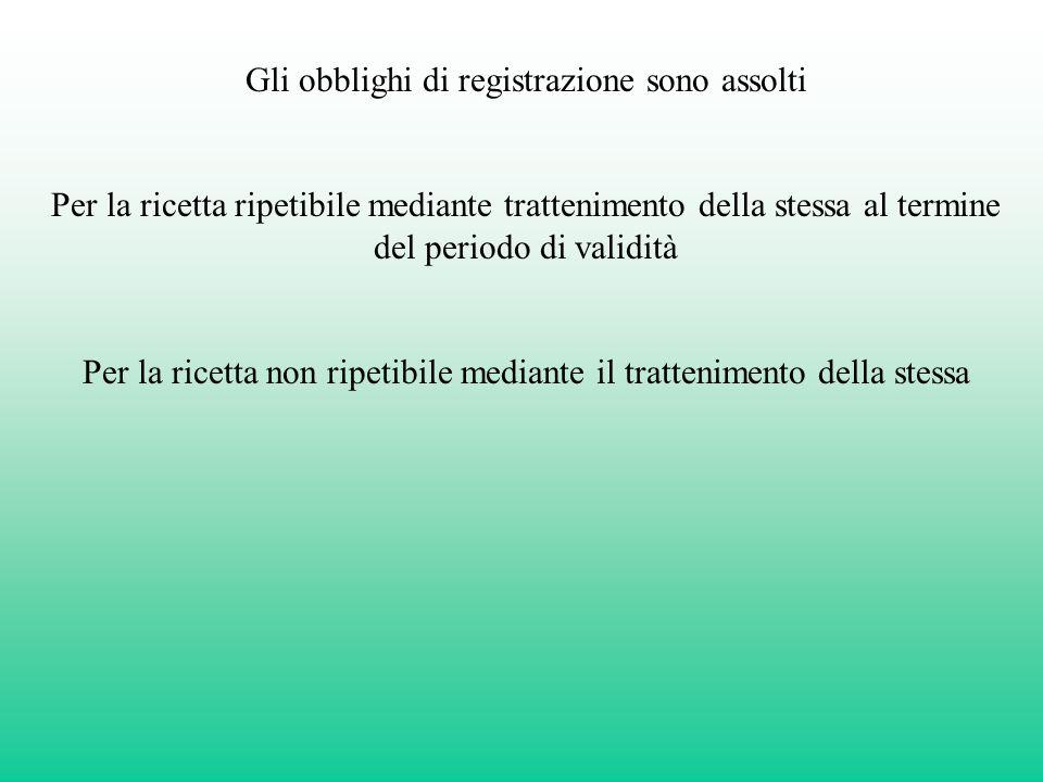 Gli obblighi di registrazione sono assolti Per la ricetta ripetibile mediante trattenimento della stessa al termine del periodo di validità Per la ric