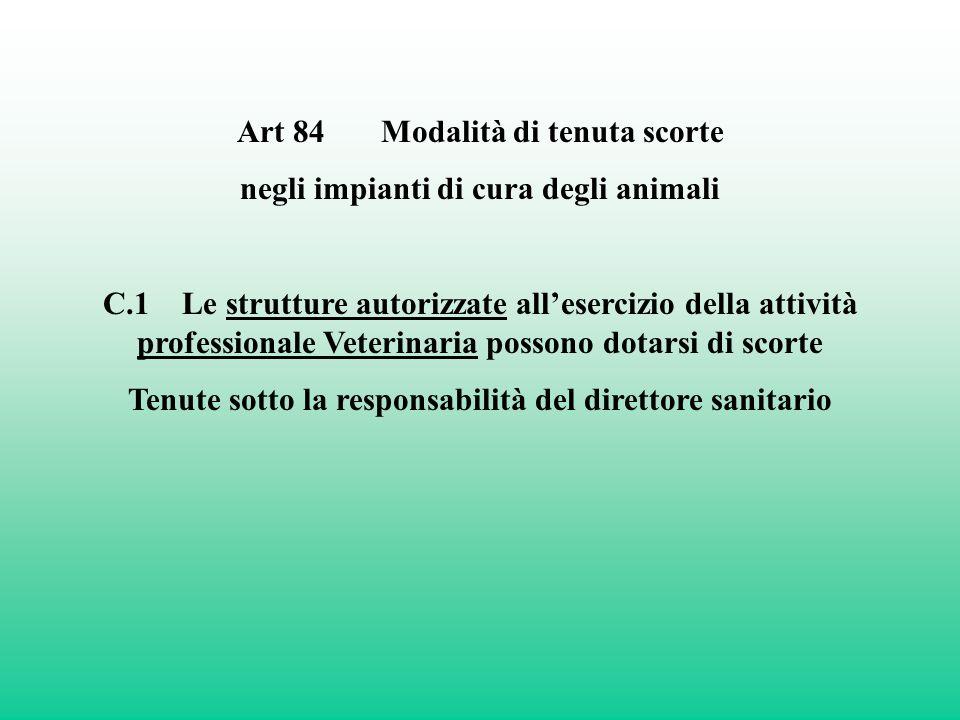 Art 84 Modalità di tenuta scorte negli impianti di cura degli animali C.1 Le strutture autorizzate allesercizio della attività professionale Veterinar