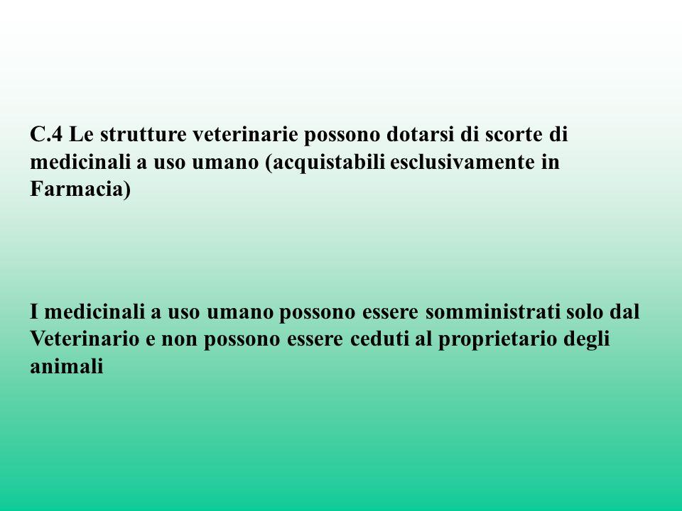 C.4 Le strutture veterinarie possono dotarsi di scorte di medicinali a uso umano (acquistabili esclusivamente in Farmacia) I medicinali a uso umano po