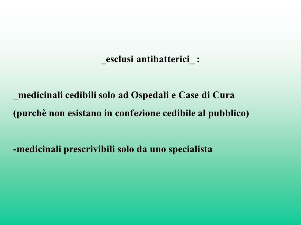 _esclusi antibatterici_ : _medicinali cedibili solo ad Ospedali e Case di Cura (purchè non esistano in confezione cedibile al pubblico) -medicinali pr