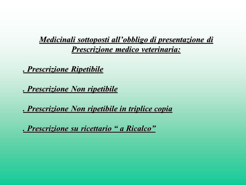 Medicinali sottoposti allobbligo di presentazione di Prescrizione medico veterinaria:. Prescrizione Ripetibile. Prescrizione Non ripetibile. Prescrizi