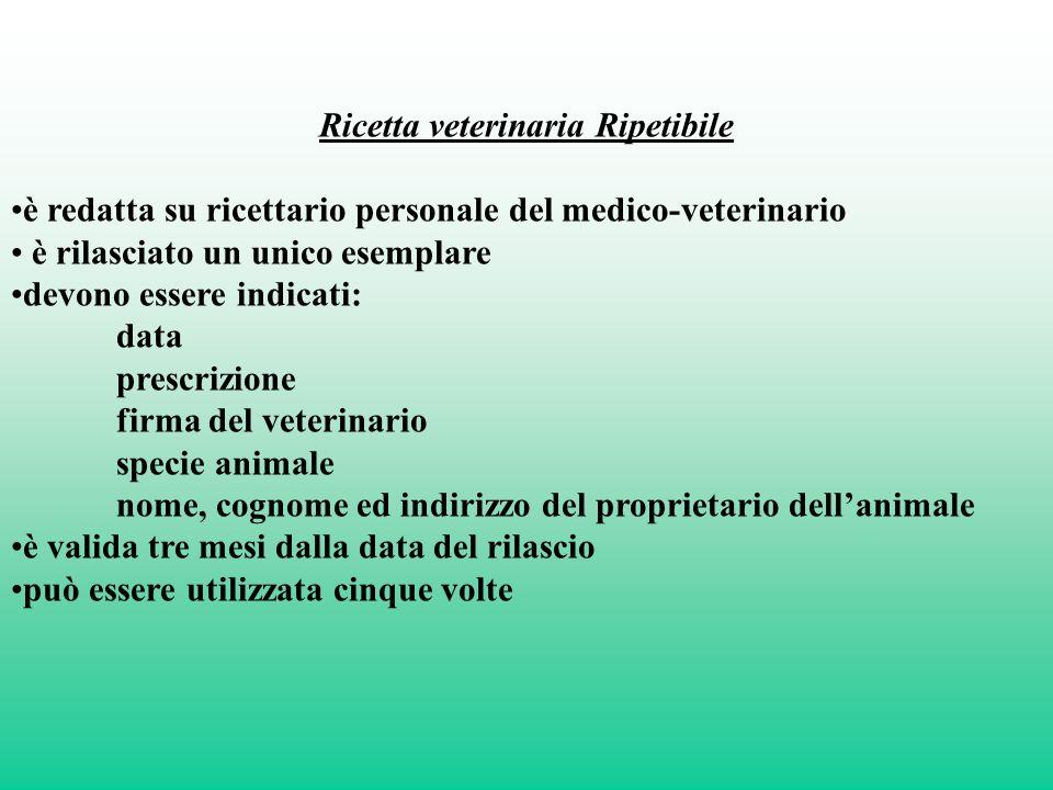 Ricetta veterinaria Ripetibile è redatta su ricettario personale del medico-veterinario è rilasciato un unico esemplare devono essere indicati: data p
