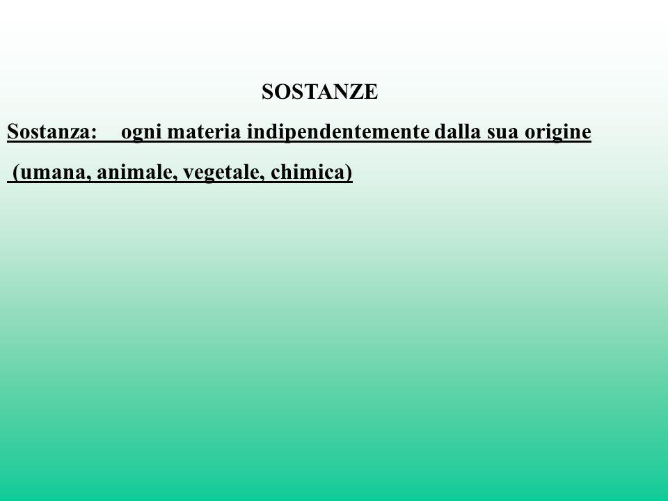 SOSTANZE Sostanza: ogni materia indipendentemente dalla sua origine (umana, animale, vegetale, chimica)