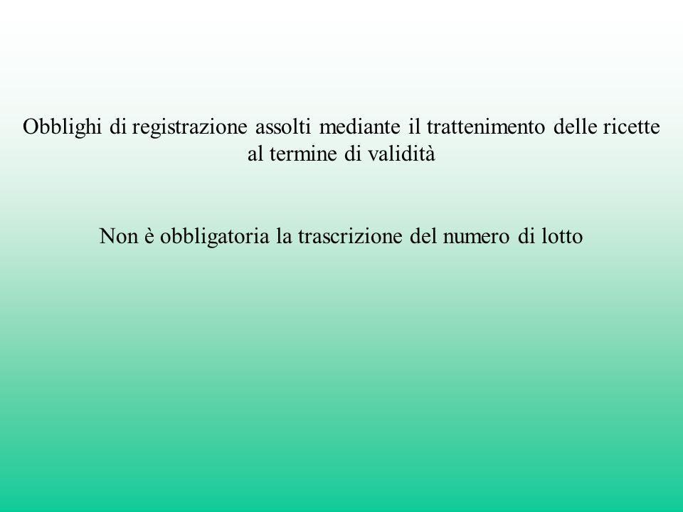 Obblighi di registrazione assolti mediante il trattenimento delle ricette al termine di validità Non è obbligatoria la trascrizione del numero di lott