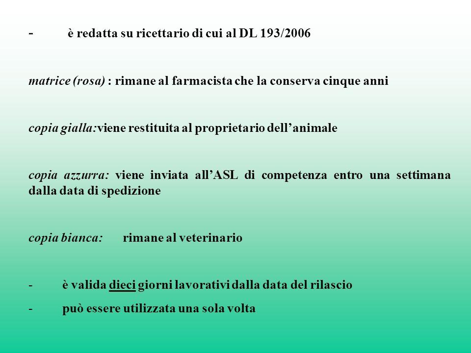 - è redatta su ricettario di cui al DL 193/2006 matrice (rosa) : rimane al farmacista che la conserva cinque anni copia gialla:viene restituita al pro