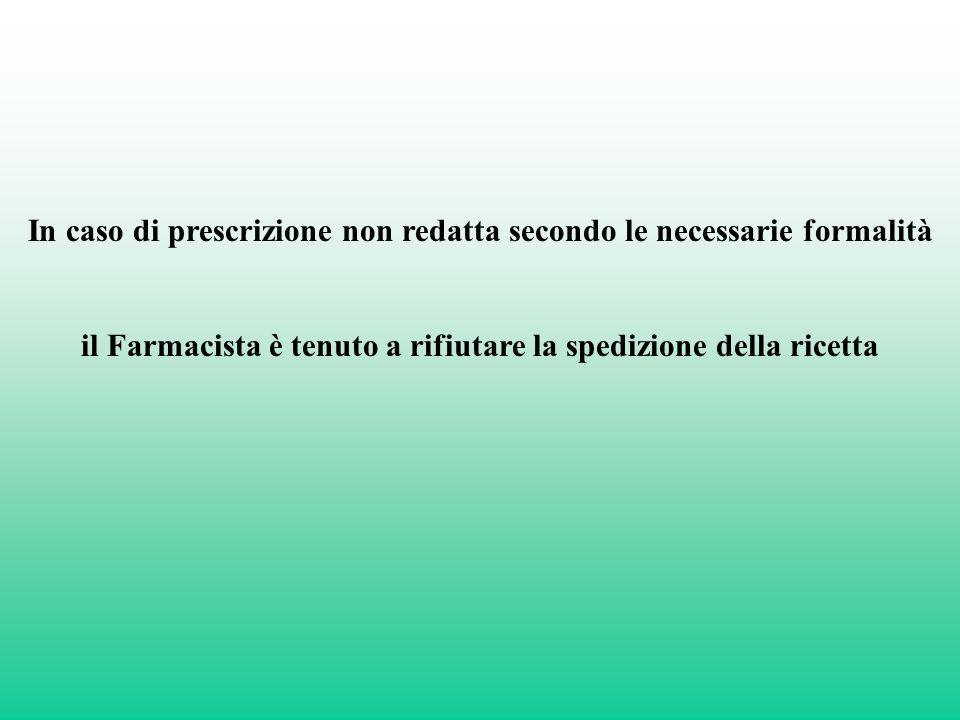 In caso di prescrizione non redatta secondo le necessarie formalità il Farmacista è tenuto a rifiutare la spedizione della ricetta