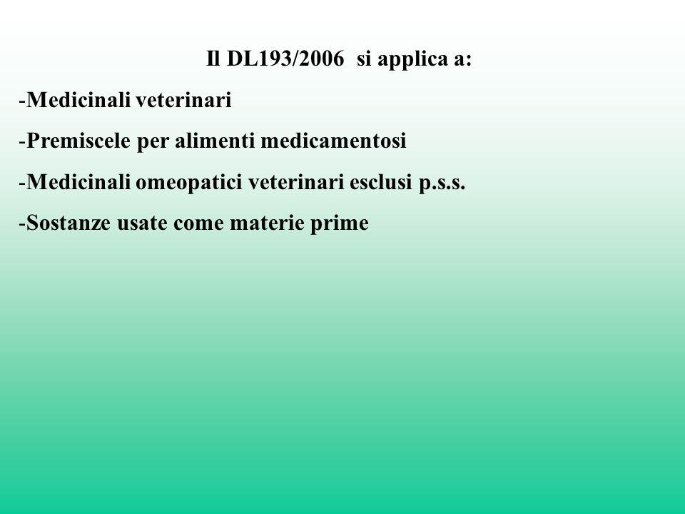 Il DL193/2006 si applica a: -Medicinali veterinari -Premiscele per alimenti medicamentosi -Medicinali omeopatici veterinari esclusi p.s.s. -Sostanze u