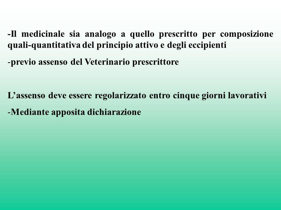 -Il medicinale sia analogo a quello prescritto per composizione quali-quantitativa del principio attivo e degli eccipienti -previo assenso del Veterin