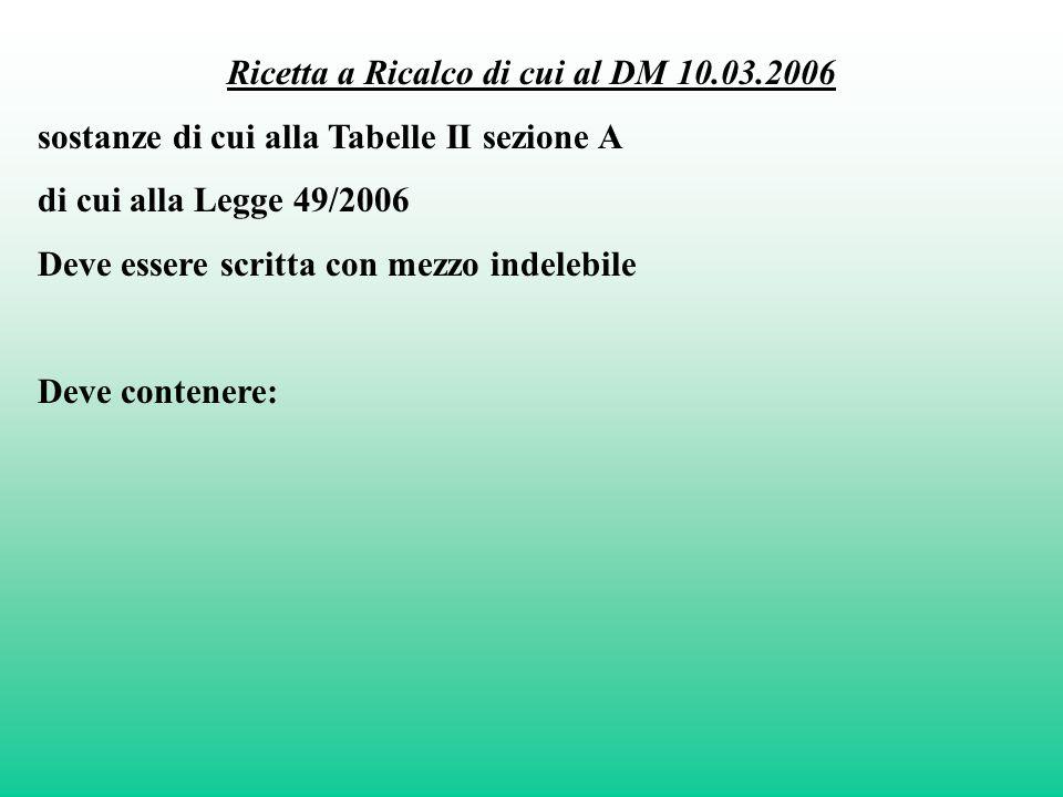 Ricetta a Ricalco di cui al DM 10.03.2006 sostanze di cui alla Tabelle II sezione A di cui alla Legge 49/2006 Deve essere scritta con mezzo indelebile