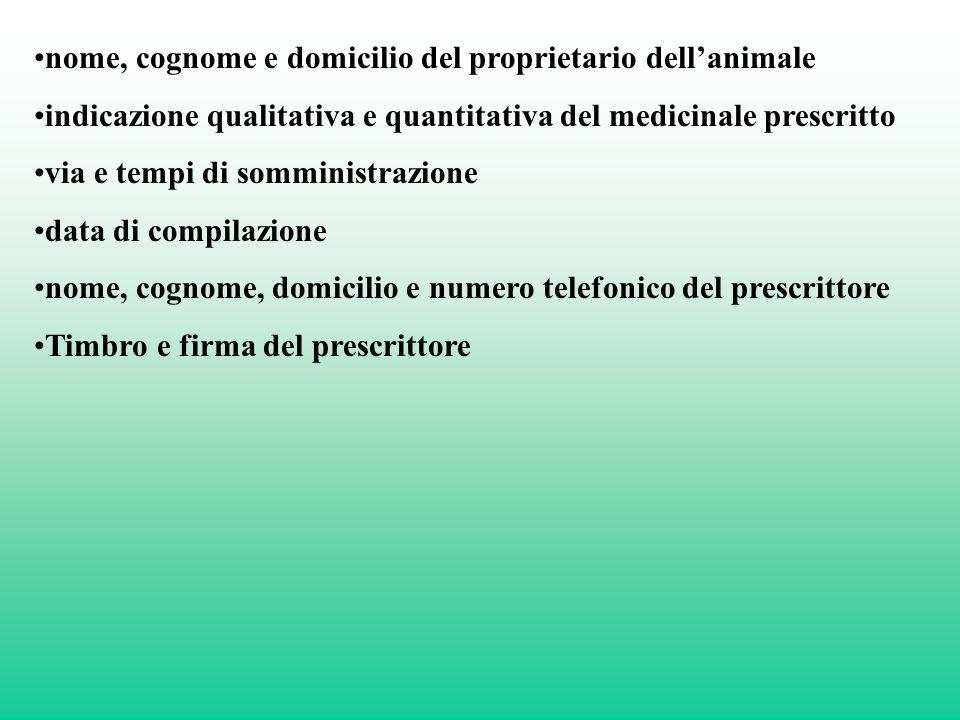 nome, cognome e domicilio del proprietario dellanimale indicazione qualitativa e quantitativa del medicinale prescritto via e tempi di somministrazion