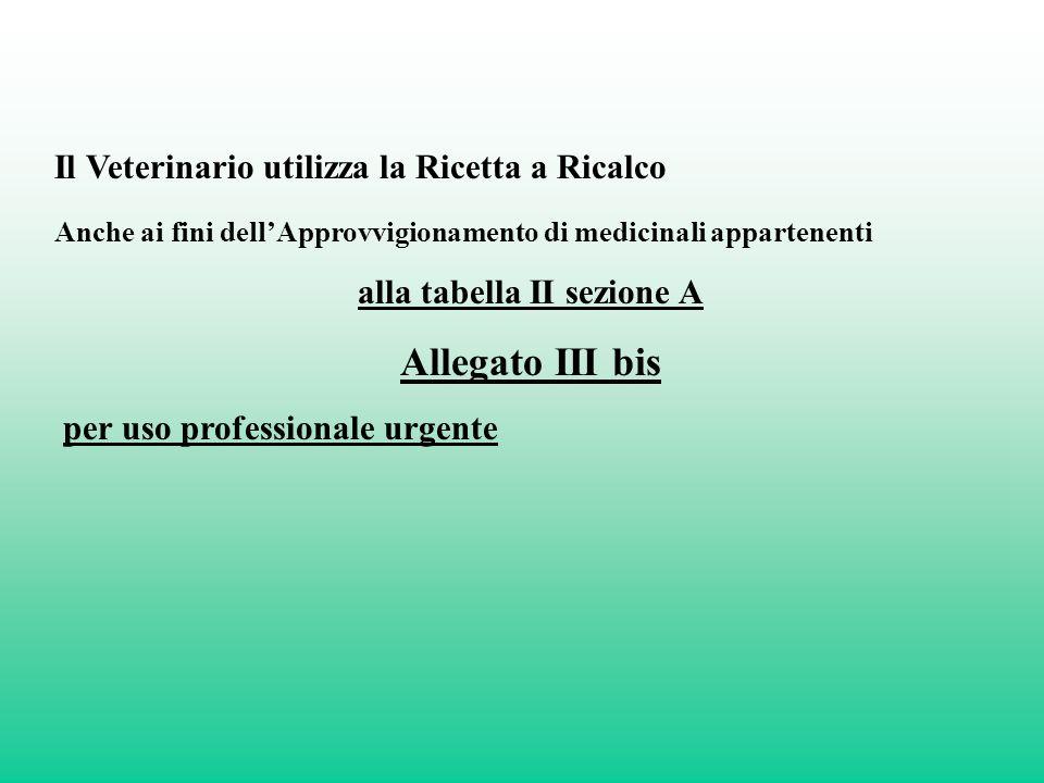 Il Veterinario utilizza la Ricetta a Ricalco Anche ai fini dellApprovvigionamento di medicinali appartenenti alla tabella II sezione A Allegato III bi